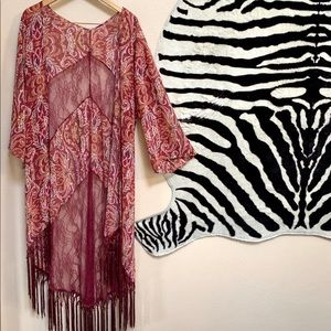 FLORAL AND LACE BOHO KIMONO with 3/4 sleeves